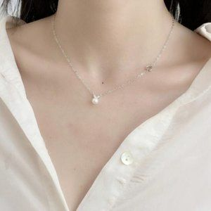 Jewelry - NEW 925 Sterling Silver Pearl Heart Necklace